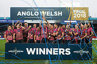 The Exeter Chiefs team celebrate as Kai Horstmann lifts the Anglo-Welsh Cup. Anglo-Welsh Cup Final, between Bath Rugby and Exeter Chiefs on March 30, 2018 at Kingsholm Stadium in Gloucester, England. Photo by: Patrick Khachfe / Onside Images