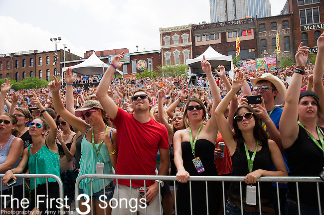 Chase Rice performs on Day Two of the 2014 CMA Music Festival in Nashville, Tennessee.