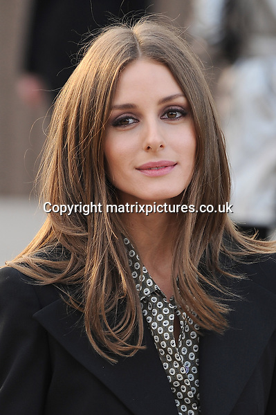 NON EXCLUSIVE PICTURE: PAUL TREADWAY / MATRIXPICTURES.CO.UK.PLEASE CREDIT ALL USES..WORLD RIGHTS..American socialite Olivia Palermo attending the Burberry Prorsum womenswear a/w 2013 catwalk show during London Fashion Week...FEBRUARY 18th 2013..REF: PTY 131086
