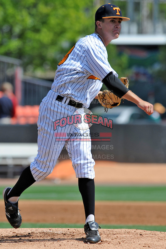 Tennessee Volunteers starting pitcher Robbie Kidd #33 makes a pickoff attemp during a game against the Florida Gators at Lindsey Nelson Stadium, Knoxville, Tennessee April 14, 2012. The Volunteers won the game 5-4  (Tony Farlow/Four Seam Images)..