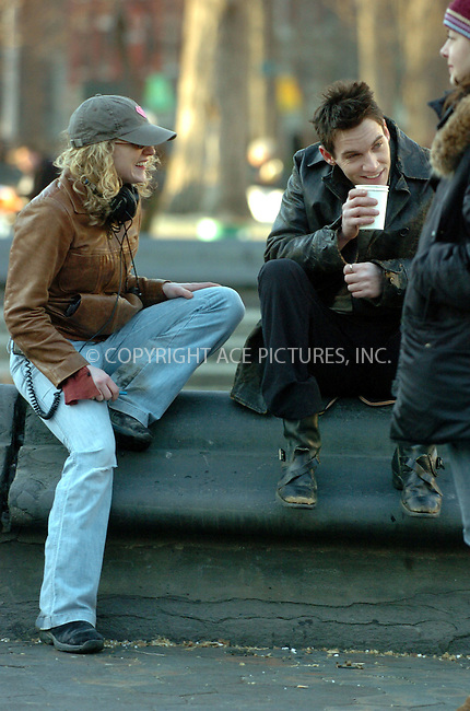 "WWW.ACEPIXS.COM . . . . . ....February 17 2006, New York City....Director Kristin Sheriden and actor Jonathan Rhys-Meyers on the set of ""August Rush"" in Washington Square Park in Manhattan. Rhys-Meyers stars with Kerri Russell and Robin Williams in this fairy tale drama in which an orphan uses his musical talents to find his parents. Director Kristin Sheridan is the daughter of legendary dirctor Jim Sheridan.....Please byline: AJ Sokalner - ACEPIXS.COM.... *** ***..Ace Pictures, Inc:  ..Philip Vaughan (212) 243-8787 or (646) 769 0430..e-mail: info@acepixs.com..web: http://www.acepixs.com"