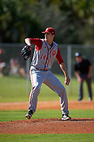 Indiana Hoosiers starting pitcher Kyle Hart (14) delivers a pitch during a game against the Illinois State Redbirds on March 4, 2016 at North Charlotte Regional Park in Port Charlotte, Florida.  Indiana defeated Illinois State 14-1.  (Mike Janes/Four Seam Images)