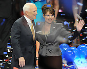 St. Paul, MN - September 4, 2008 -- United States Senator John McCain (Republican of Arizona), left and Governor Sarah Palin of Alaska, right, after McCain accepted his party's nomination as President of the United States on day 4 of the 2008 Republican National Convention at the Xcel Energy Center in St. Paul, Minnesota on Thursday, September 4, 2008..Credit: Ron Sachs / CNP.(RESTRICTION: NO New York or New Jersey Newspapers or newspapers within a 75 mile radius of New York City)