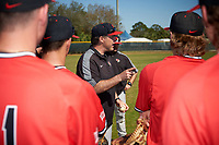 Illinois State Redbirds head coach Bo Durkac addresses his team after a game against the Northwestern Wildcats on March 6, 2016 at North Charlotte Regional Park in Port Charlotte, Florida.  Illinois State defeated Northwestern 10-4.  (Mike Janes/Four Seam Images)