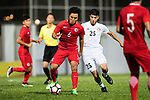 Ju Yingzhi of Hong Kong (L) in action during the International Friendly match between Hong Kong and Jordan at Mongkok Stadium on June 7, 2017 in Hong Kong, China. Photo by Marcio Rodrigo Machado / Power Sport Images