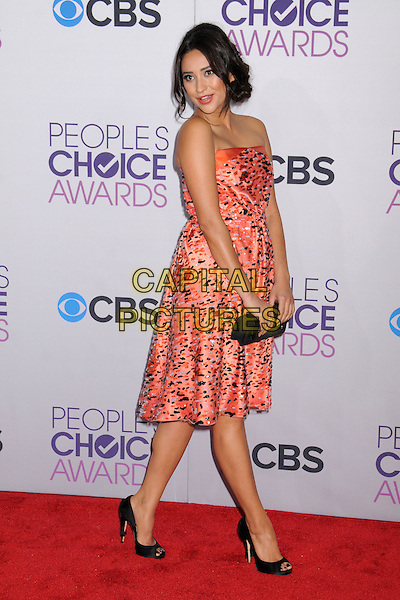 Shay Mitchell.People's Choice Awards 2013 - Arrivals held at Nokia Theatre L.A. Live, Los Angeles, California, USA..January 9th, 2013.full length dress black pink pattern print clutch bag strapless peep toe shoes side .CAP/ADM/BP.©Byron Purvis/AdMedia/Capital Pictures.