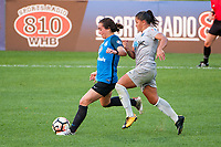 Kansas City, MO - Thursday August 10, 2017: Christina Gibbons, Debinha De Oliveira during a regular season National Women's Soccer League (NWSL) match between FC Kansas City and the North Carolina Courage at Children's Mercy Victory Field.