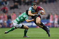 Tim Visser of Harlequins is tackled by Pedro Bettencourt of Newcastle Falcons. Premiership Rugby Cup match, between Harlequins and Newcastle Falcons on November 4, 2018 at the Twickenham Stoop in London, England. Photo by: Patrick Khachfe / JMP
