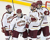 Danny Linell (BC - 10), Pat Mullane (BC - 11), Michael Matheson (BC - 5), Patrick Wey (BC - 6) - The University of Massachusetts Lowell River Hawks defeated the Boston College Eagles 4-2 (EN) on Tuesday, February 26, 2013, at Kelley Rink in Conte Forum in Chestnut Hill, Massachusetts.