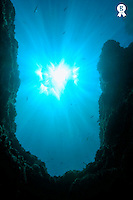 Sunbeams and rock formation underwater (Licence this image exclusively with Getty: http://www.gettyimages.com/detail/sb10067234b-001 )