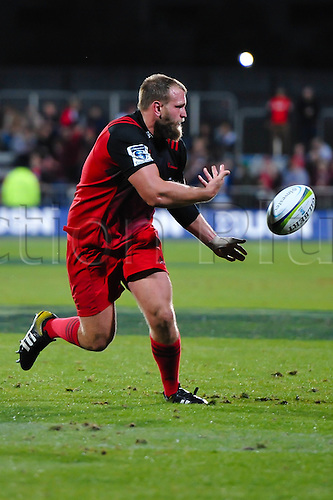 15.04.2016. Christchurch, New Zealand.  Joe Moody of the Crusaders passes the ball during the Super Rugby Match, Crusaders V Jaguares, AMI Stadium, Christchurch, New Zealand. 15th April 2016.