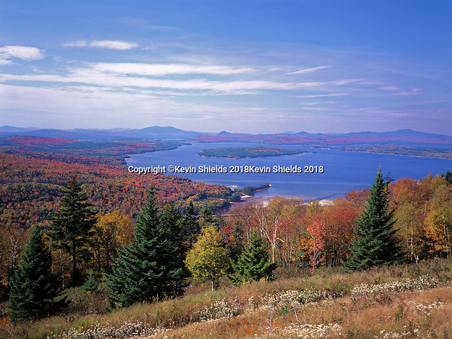 Fall view of Mooselookmeguntic Lake in Rangeley Plantation, Maine, USA