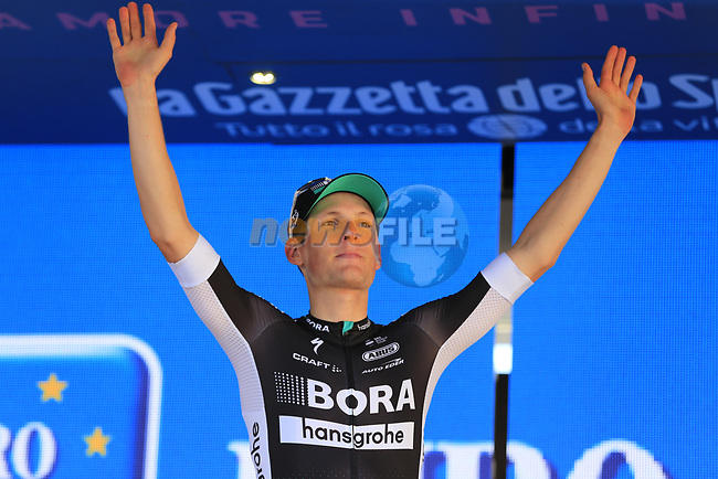 Lukas Postlberger (AUT) Bora-Hansgrohe retains the young riders white jersey at the end of Stage 2 of the 100th edition of the Giro d'Italia 2017, running 221km from Olbia to Tortoli, Sardinia, Italy. 6th May 2017.<br /> Picture: Eoin Clarke | Cyclefile<br /> <br /> All photos usage must carry mandatory copyright credit (&copy; Cyclefile | Eoin Clarke)