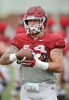 NWA Democrat-Gazette/ANDY SHUPE<br /> Arkansas tight end Austin Cantrell catches the ball Tuesday, Aug. 1, 2017, during practice at the university's practice field in Fayetteville. Visit nwadg.com/photos to see more photographs from the day's practice.