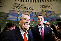 TALLAHASSEE, FLA. 5/3/13-SESSIONEND050313CH-House Speaker Will Weatherford, R-Wesley Chapel, left, and Senate President Don Gaetz, R-Niceville, celebrate talk about the close of 2013 legislative session May 3, 2013 at the Capitol in Tallahassee...COLIN HACKLEY PHOTO