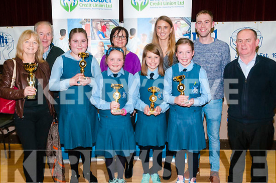 Credit Union Quiz: Pupils from Presentation Cinvent Primary, Listowel who won the U/13 quiz at the Presentation convent hall, Listowel on Friday night last. Front : Mary Hennessy, Nicole sayers, Mia Daly, Triona Kennedy, Ava McElligott & Denis Dillane, manager Listowel Credit Union. Back : Leo Daly, Kay Murphy, Julianne Galvin & Paudie Flynn, Listowel Credit Union.