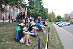Students watch firefighters work during the Chem-phys fire, September 7.
