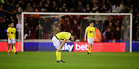 Blackburn Rovers' Adam Armstrong reacts after Sheffield United's Billy Sharp had scored the opening goal<br /> <br /> Photographer Chris Vaughan/CameraSport<br /> <br /> The EFL Sky Bet Championship - Sheffield United v Blackburn Rovers - Saturday 29th December 2018 - Bramall Lane - Sheffield<br /> <br /> World Copyright © 2018 CameraSport. All rights reserved. 43 Linden Ave. Countesthorpe. Leicester. England. LE8 5PG - Tel: +44 (0) 116 277 4147 - admin@camerasport.com - www.camerasport.com