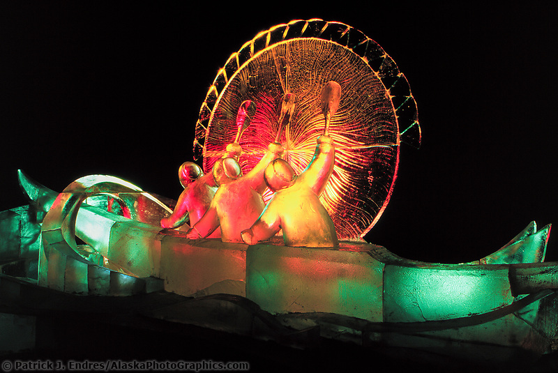 Good Omen, the title of this award winning Ice Sculpture lit by colored lights, Fairbanks, Alaska.