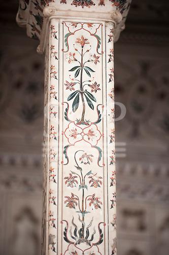 Agra, Utar Pradesh, India. Detail of pillar Baby Taj.
