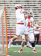 College Park, MD - May 13, 2018: Maryland Terrapins Dan Morris (8) makes a save during the NCAA first round game between Robert Morris and Maryland at  Capital One Field at Maryland Stadium in College Park, MD.  (Photo by Elliott Brown/Media Images International)