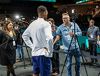 Rotterdam, The Netherlands, 16 Februari 2020, ABNAMRO World Tennis Tournament, Ahoy, Tournament winner Gaël Monfils (FRA) talks to TV and radio reporters<br /> Photo: www.tennisimages.com