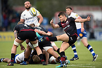 Richard Wigglesworth of Saracens box-kicks the ball. Aviva Premiership match, between Saracens and Bath Rugby on April 15, 2018 at Allianz Park in London, England. Photo by: Patrick Khachfe / Onside Images