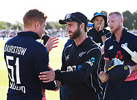 Kane Williamson shakes hands with Jonny Bairstow at the end of the match.<br /> New Zealand Blackcaps v England. 5th ODI International one day cricket, Hagley Oval, Christchurch. New Zealand. Saturday 10 March 2018. &copy; Copyright Photo: Andrew Cornaga / www.Photosport.nz