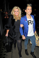 "NON EXCLUSIVE PICTURE: MATRIXPICTURES.CO.UK.PLEASE CREDIT ALL USES..WORLD RIGHTS..""The Only Way Is Essex"" reality TV star Gemma Collins is pictured arriving at London's Groucho Club with her friend, English comedian Russell Kane...NOVEMBER 8th 2012..REF: AHT 125160"