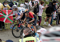 Egan Bernal (COL/Ineos Grenadiers) & Mikel Landa (ESP/Bahrain-McLaren) sprinting up the Col de Marie Blanque (1st Cat)<br /> <br /> Stage 9 from Pau to Laruns (153km)<br /> <br /> 107th Tour de France 2020 (2.UWT)<br /> (the 'postponed edition' held in september)<br /> <br /> ©kramon