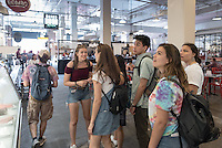 Incoming Occidental College students participate in Oxy Engage with the group LA Icons and stop for lunch at Grand Central Market in downtown Los Angeles on Aug. 24, 2016.<br /> Oxy Engage is a pre-orientation program that introduces incoming students to the vibrant city of Los Angeles. Upperclassmen facilitators lead trips to experience culture, film, food, nature, social justice, the urban environment, and much more.<br /> (Photo by Marc Campos, Occidental College Photographer)