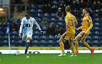 Blackburn Rovers' Ryan Nyambe under pressure from Wigan Athletic's Michael Jacobs and Nick Powell<br /> <br /> Photographer Kevin Barnes/CameraSport<br /> <br /> The EFL Sky Bet Championship - Blackburn Rovers v Wigan Athletic - Tuesday 12th March 2019 - Ewood Park - Blackburn<br /> <br /> World Copyright © 2019 CameraSport. All rights reserved. 43 Linden Ave. Countesthorpe. Leicester. England. LE8 5PG - Tel: +44 (0) 116 277 4147 - admin@camerasport.com - www.camerasport.com