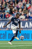 FOXBOROUGH, MA - AUGUST 25: Luis Caicedo #27 of New England Revolution controls the ball during a game between Chicago Fire and New England Revolution at Gillette Stadium on August 24, 2019 in Foxborough, Massachusetts.