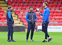 Lincoln City manager Danny Cowley during the pre-match warm-up with `Lincoln City's assistant manager Nicky Cowley, left and Lincoln City's first team coach/under 23 manager Jamie McCombe, right<br /> <br /> Photographer Andrew Vaughan/CameraSport<br /> <br /> The EFL Sky Bet League Two - Crewe Alexandra v Lincoln City - Saturday 11th November 2017 - Alexandra Stadium - Crewe<br /> <br /> World Copyright &copy; 2017 CameraSport. All rights reserved. 43 Linden Ave. Countesthorpe. Leicester. England. LE8 5PG - Tel: +44 (0) 116 277 4147 - admin@camerasport.com - www.camerasport.com
