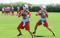 Jun 9, 2008; Tempe, AZ, USA; Arizona Cardinals quarterback (2) Brian St. Pierre and quarterback (12) Anthony Morelli during mini camp at the Cardinals practice facility. Mandatory Credit: Mark J. Rebilas-