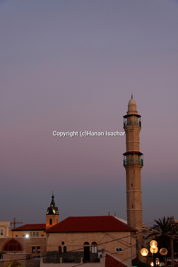 Israel, Tel Aviv-Yafo. The minaret of the Mosque in Jaffa