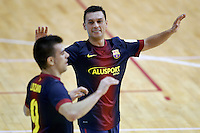 FC Barcelona Alusport's Saad Assis (r) and Sergio Lozano celebrate goal during Spanish National Futsal League match.November 24,2012. (ALTERPHOTOS/Acero) /NortePhoto