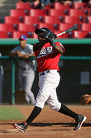 May 16, 2010: Johermyn Chavez of the High Desert Mavericks during game against the Stockton Ports at Mavericks Stadium in Adelanto,CA.  Photo by Larry Goren/Four Seam Images
