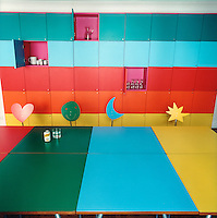 This multi-coloured dining area has been designed especially for children