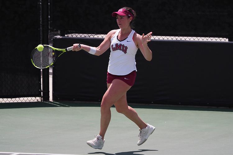 April 27, 2017; Claremont, CA, USA; Loyola Marymount Lions player Jessica Perez during the WCC Tennis Championships at Biszantz Family Tennis Center.