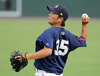July 21, 2008: RHP Terumasa Matsuo (35) of the Greenville Drive, Class A affiliate of the Boston Red Sox, in a game against the Hagerstown Suns at Fluor Field at the West End in Greenville, S.C. Photo by:  Tom Priddy/Four Seam Images