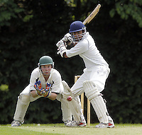 Akash Mohanlal bats for Wembley during the Middlesex County Cricket League Division Three game between Wembley and North London at Vale Farm, Wembley on Sat May 31, 2014