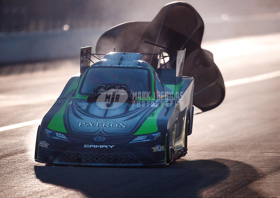 Feb 11, 2017; Pomona, CA, USA; NHRA funny car driver Alexis DeJoria during qualifying for the Winternationals at Auto Club Raceway at Pomona. Mandatory Credit: Mark J. Rebilas-USA TODAY Sports