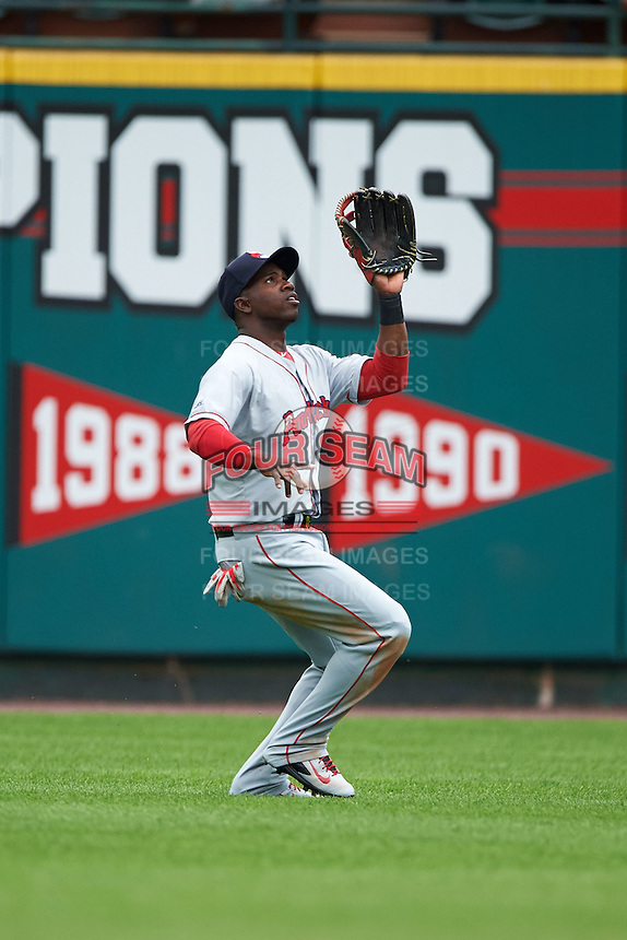 Pawtucket Red Sox outfielder Rusney Castillo (31) catches a fly ball during a game against the Rochester Red Wings on July 1, 2015 at Frontier Field in Rochester, New York.  Rochester defeated Pawtucket 8-4.  (Mike Janes/Four Seam Images)