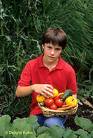 HS18-191z  Boy harvesting vegetable in garden - tomato, cucumber, carrot, squash