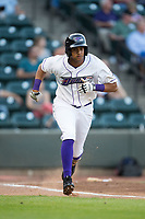 Johan Cruz (5) of the Winston-Salem Dash hustles down the first base line against the Buies Creek Astros at BB&T Ballpark on April 13, 2017 in Winston-Salem, North Carolina.  The Dash defeated the Astros 7-1.  (Brian Westerholt/Four Seam Images)