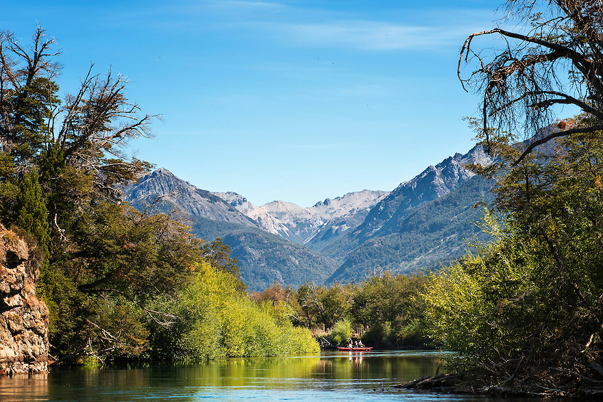 A raft guides anglers down the Rio Carrileufu in central Patagonia.