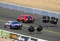 Jul. 28, 2013; Sonoma, CA, USA: NHRA pro stock drivers Larry Morgan (left) and Rickie Jones open their parachutes during the Sonoma Nationals at Sonoma Raceway. Mandatory Credit: Mark J. Rebilas-