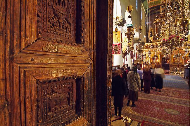 EGYPT : SINAI : ST. CATHERINE MONASTERY....Inside the basilica. Detail of the 6th century carved wooden door...