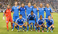 CARSON, CA - August 31, 2013: San Jose Earthquakes starting line up for the LA Galaxy vs San Jose Earthquakes match at the StubHub Center in Carson, California. Final score, LA Galaxy 3, San Jose Earthquakes  0.